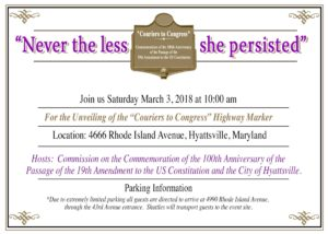 Couriers to Congress Marker Unveiling - 100th Anniversary of the 19th Amendment @ Hyattsville | Maryland | United States