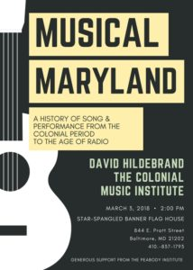 Musical Maryland: History of Song & Performance from the Colonial Period to the Age of Radio @ Star-Spangled Banner Flag House and Museum | Baltimore | Maryland | United States